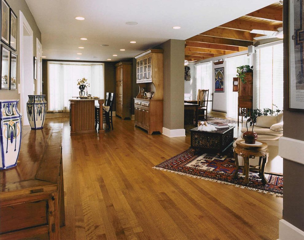 What is Quarter Sawn Oak with Eclectic Family Room Also Dog Family Room Japanese Chin Open Plan Oriental Rug Quartersawn Oak Sakura Unfitted Wood Beam Ceiling