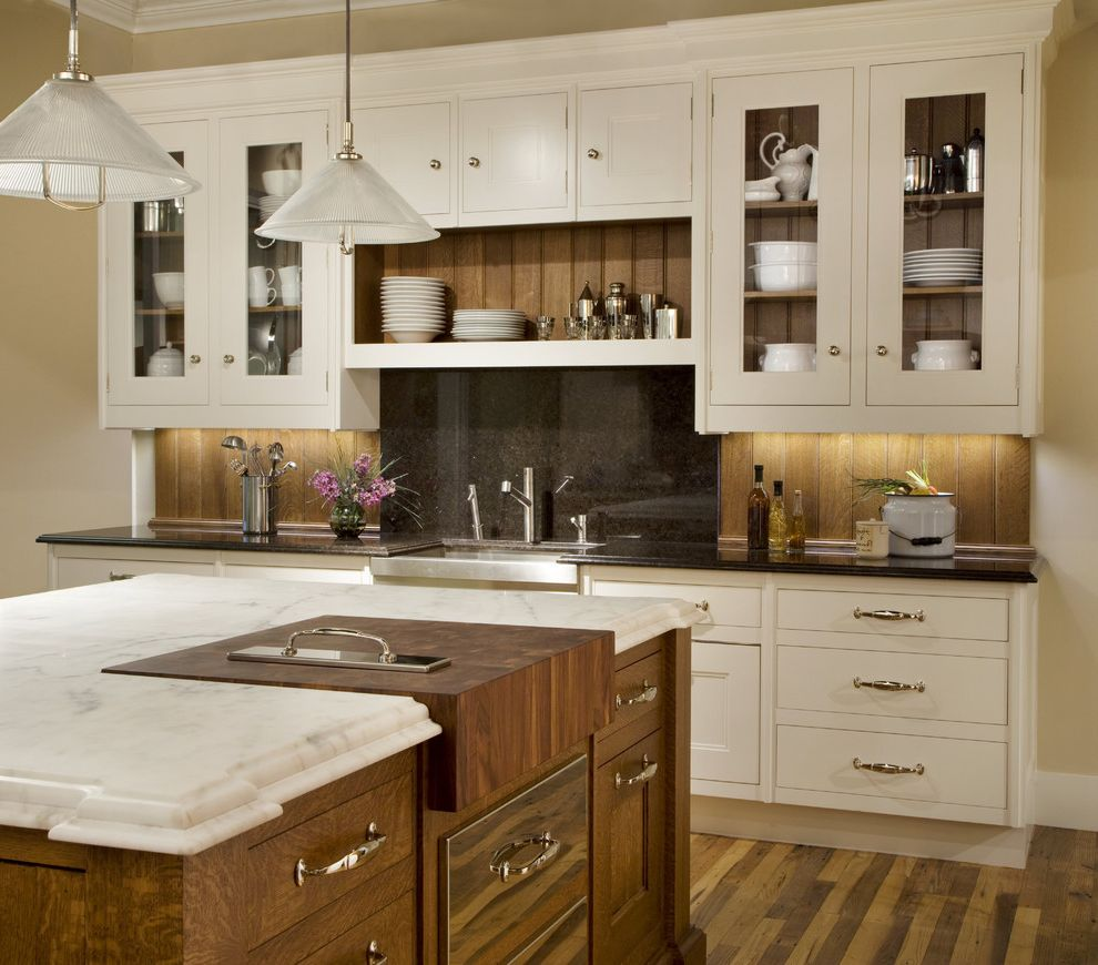 What is Quarter Sawn Oak with Traditional Kitchen Also Bead Board Black Granite Butcher Block Glass Front Cabinets Marble Backsplash Pendant Lights Stainless Steel Sink White Marble White Painted Cabinets Wood Backsplash