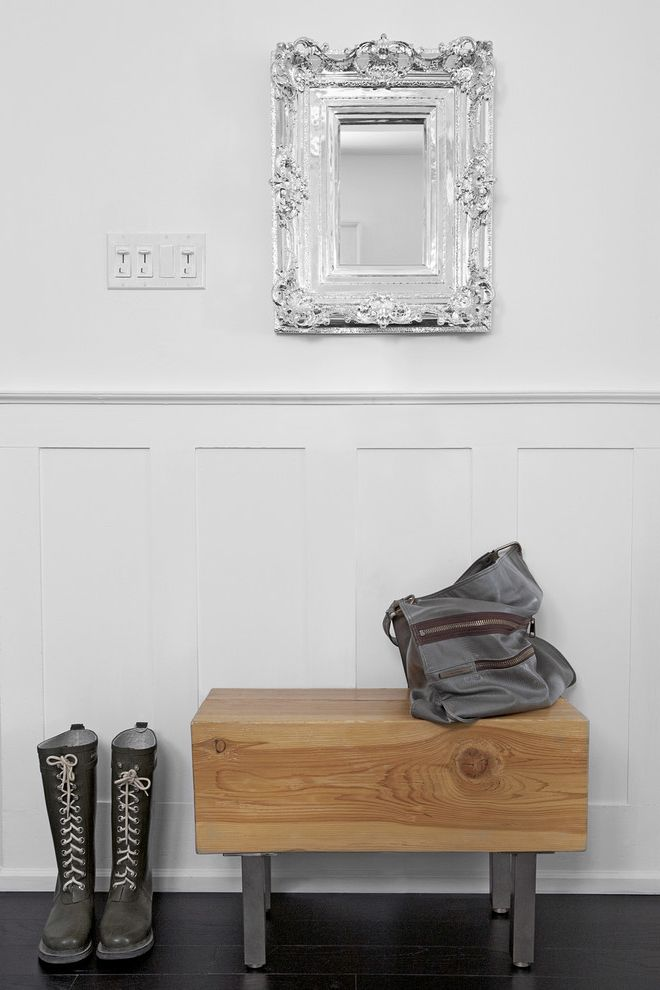 What is Wainscoting   Eclectic Hall Also Balck Wood Floor Boots Decorative Mirror Entry Messenger Bag Mirror Silver Wainscot White Wood Bench