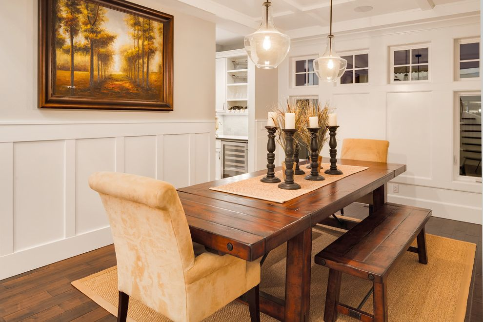 What is Wainscoting with Traditional Dining Room Also Area Rug Box Beam Candles Framed Wall Art Hardwood Flooring Muntins Neutral Colors Pendant Lighting Sisal Rug Square Windows Upholstered Chairs Wainscot Wood Bench Wood Table