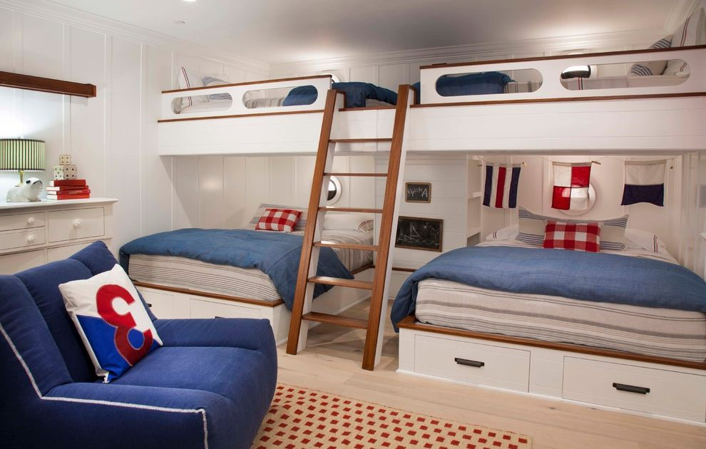 What Size is a Double Bed   Beach Style Kids  and Bed Built in Blue Armchair Built in Double Bed Bunk Beds Bunk Room Custom Made Kids Bedroom Nautical Built in Beds Nautical Light White Dresser