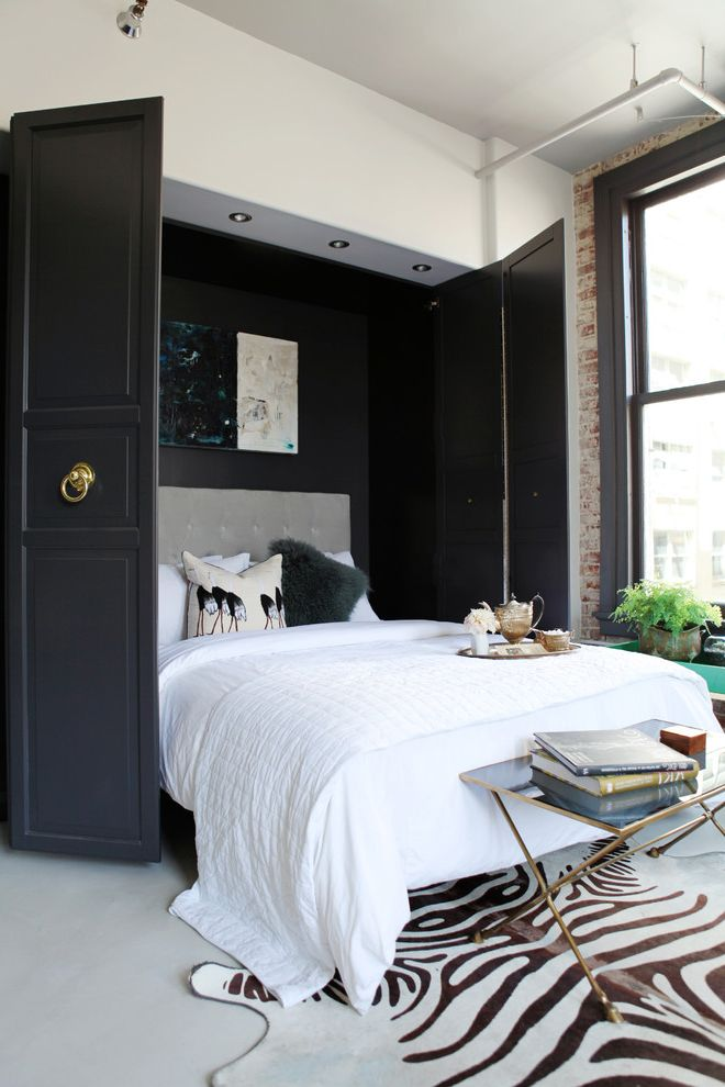 What Size is a Double Bed   Contemporary Bedroom  and Bedding Bedroom Table Contrast Gray Headboard Hidden Bed Murphy Bed Wall Art Window Zebra Rug