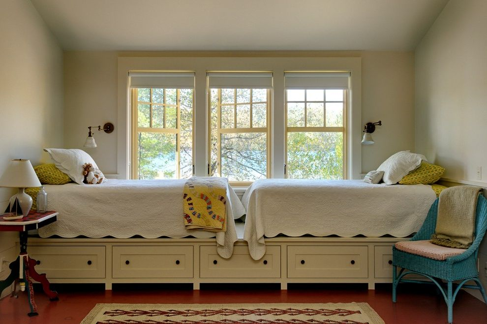 What Size is a Double Bed with Rustic Kids  and Area Rug Blue Wicker Side Chair Casement Windows Country Lake House Pedestal Table Quilt Side Table Summer House Table Lamp Under Bed Drawers Wall Sconce Wood Floor Yellow Trim