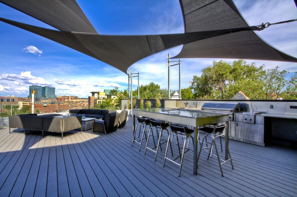 Wind Sail Shade   Contemporary Patio Also Bar Stool Entertaining Outdoor Kitchen Patio Furniture Roof Terrace Sail Shade Steel Table Terrace Urban Wood Deck