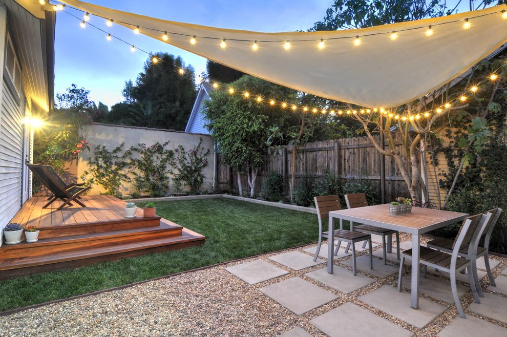 Wind Sail Shade   Contemporary Patio  and Climbing Plants Deck Landscaping Ideas Outdoor Dining Patio Light String Lights Vegetable Garden
