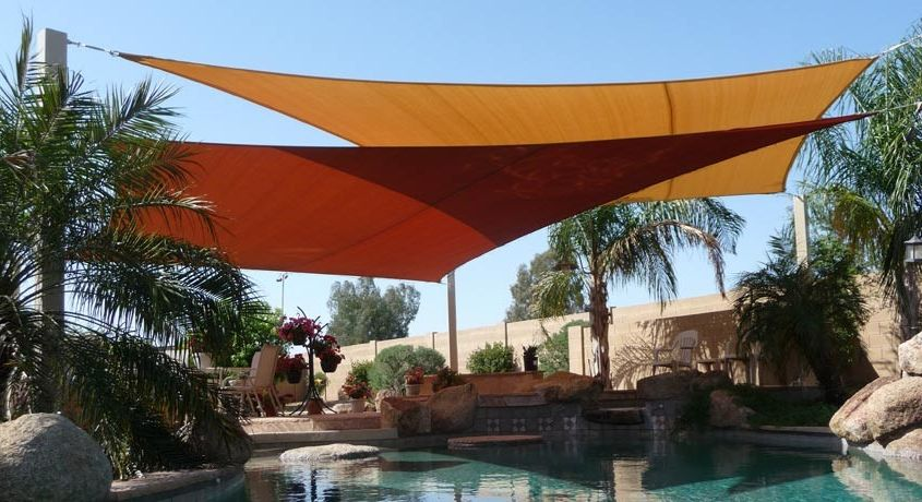 Wind Sail Shade with Contemporary Pool Also Contemporary