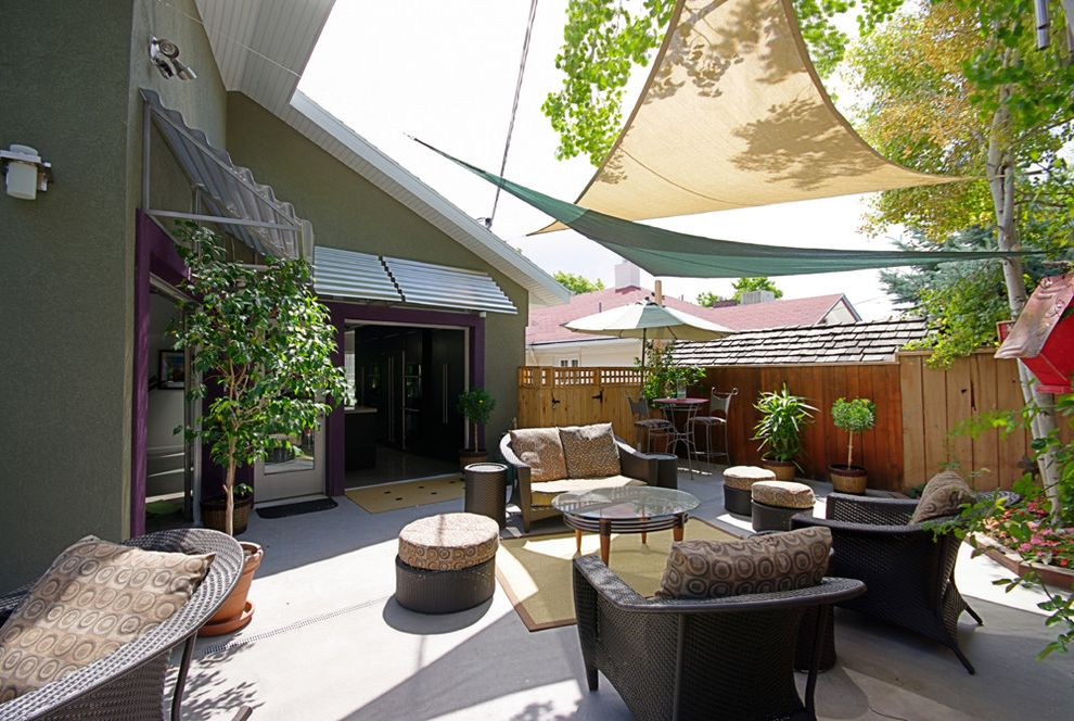 Wind Sail Shade with Modern Patio  and Patio Space with Panel Material Stretche