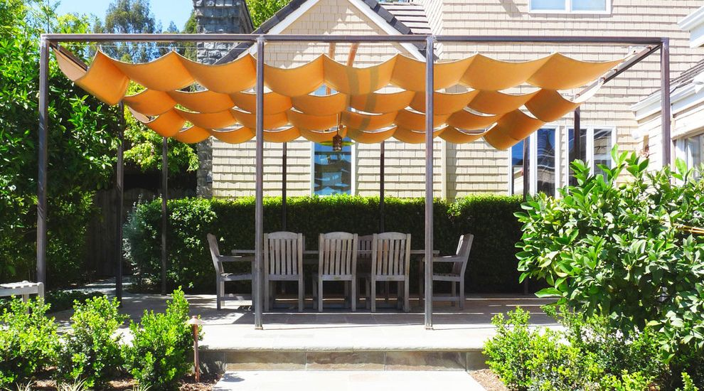 Wind Sail Shade with Traditional Patio  and Canvas Garden Lighting Hedge Outdoor Dining Path Patio Furniture Pergola Planter Shingle Siding Sun Shade Terrace Walkway Wood Patio Furniture