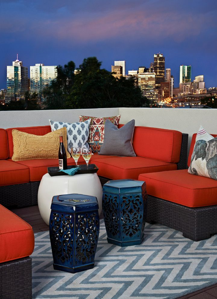 Windermere Tri Cities with Eclectic Deck  and Ceramic Garden Stool City View Decorative Pillows Outdoor Couch Outdoor Cushions Patio Furniture Red Cushions Throw Pillows