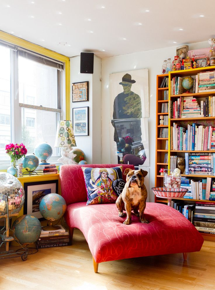 World Globes for Sale   Eclectic Living Room Also Bookshelves Bright Colors Collectibles Disco Ball Dog Eclectic Decor Globe Collection Indian Pillow My Houzz Red Chaise Lounge Speaker Wood Floor Yellow Accent Wall Yellow Bookcase