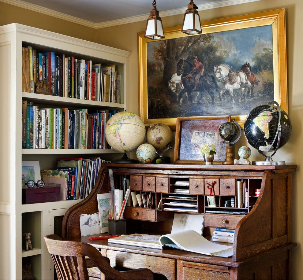 World Globes for Sale   Traditional Home Office  and Books Brice Gaillard Stylist Desk Francis Dzikowski Photography Gary Brewer Architect Globes Home Office Ramsa Roll Top Desk Yonkers House