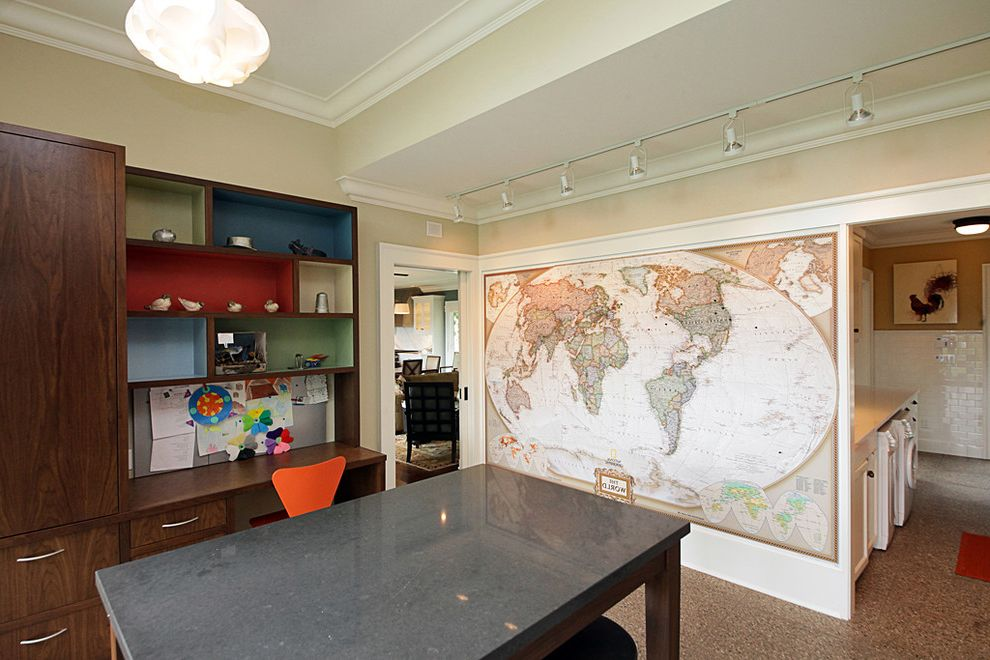 World Globes for Sale with Contemporary Home Office  and Art Room Built in Cabinets Color Craft Room Craft Table Homework Room Kids Layout Area Map Room Series 7 Chair Soffit Terrazzo Floor Track Lighting Wall Map Walnut Work Area