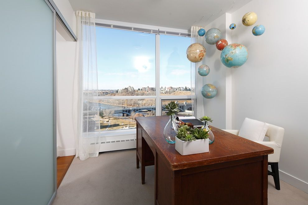 World Globes for Sale with Contemporary Home Office  and City View Den Frosted Glass Home Office Large Windows Sheer Curtains Sliding Doors Suspended Globes Urban Vintage Desk White Desk Chair