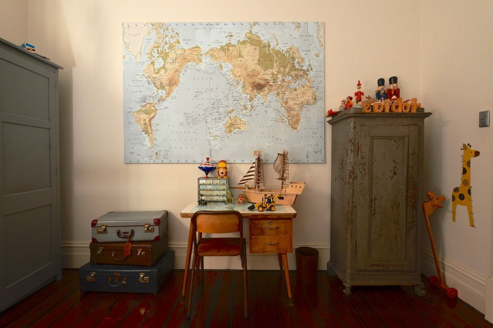 World Globes for Sale with Eclectic Kids  and Australian Boys Bedroom Boys Room Cottage Ecclectic Mid Century Modern Modern Desk Red Brick Small Desk Suitcases Toys Vintage World Map