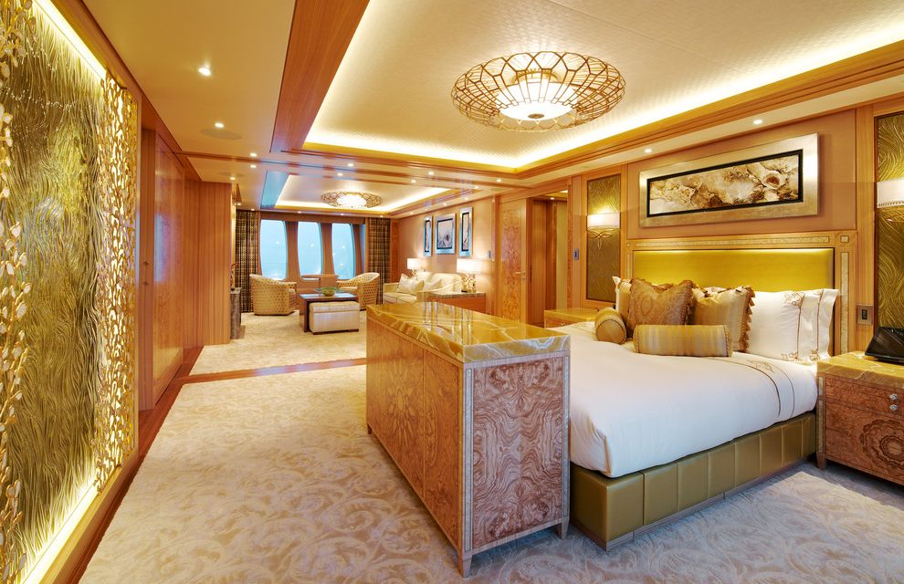 Yacht Bedding   Traditional Bedroom  and Bed Bedding Ceiling Light Console Nightstand Open Concept Sitting Area Wall Treatment Wood Trim