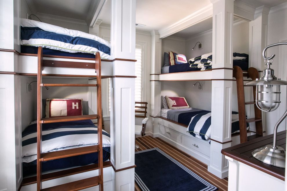 Yacht Bedding with Beach Style Kids  and Area Rug Bunkroom Caged Table Lamp Coastal Bedroom Frame and Panel Ladders Nautical Navy Blue and White Ship Deck Floor Striped