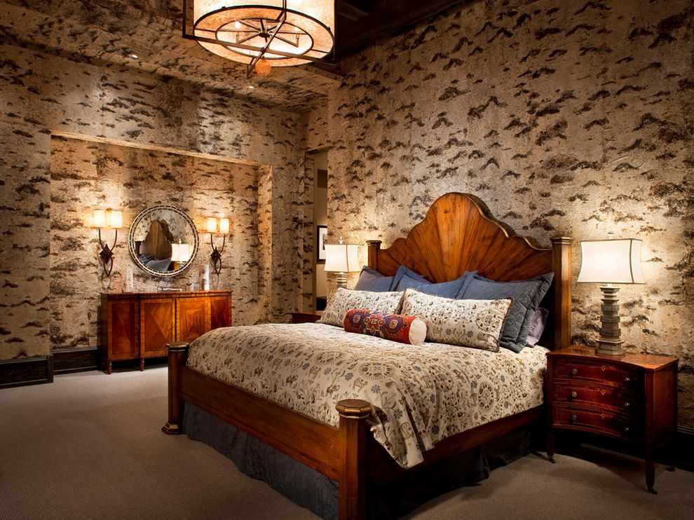 Yacht Bedding with Rustic Bedroom  and Bedding Bedroom Cabin Carpet Ceiling Light Console Double Sconce Headboard Lighting Mountain Home Neutral Colors Niche Nightstand Pillows Round Mirror Table Lamp Tall Ceiling Wall Treatment Wallpaper Wood Bed