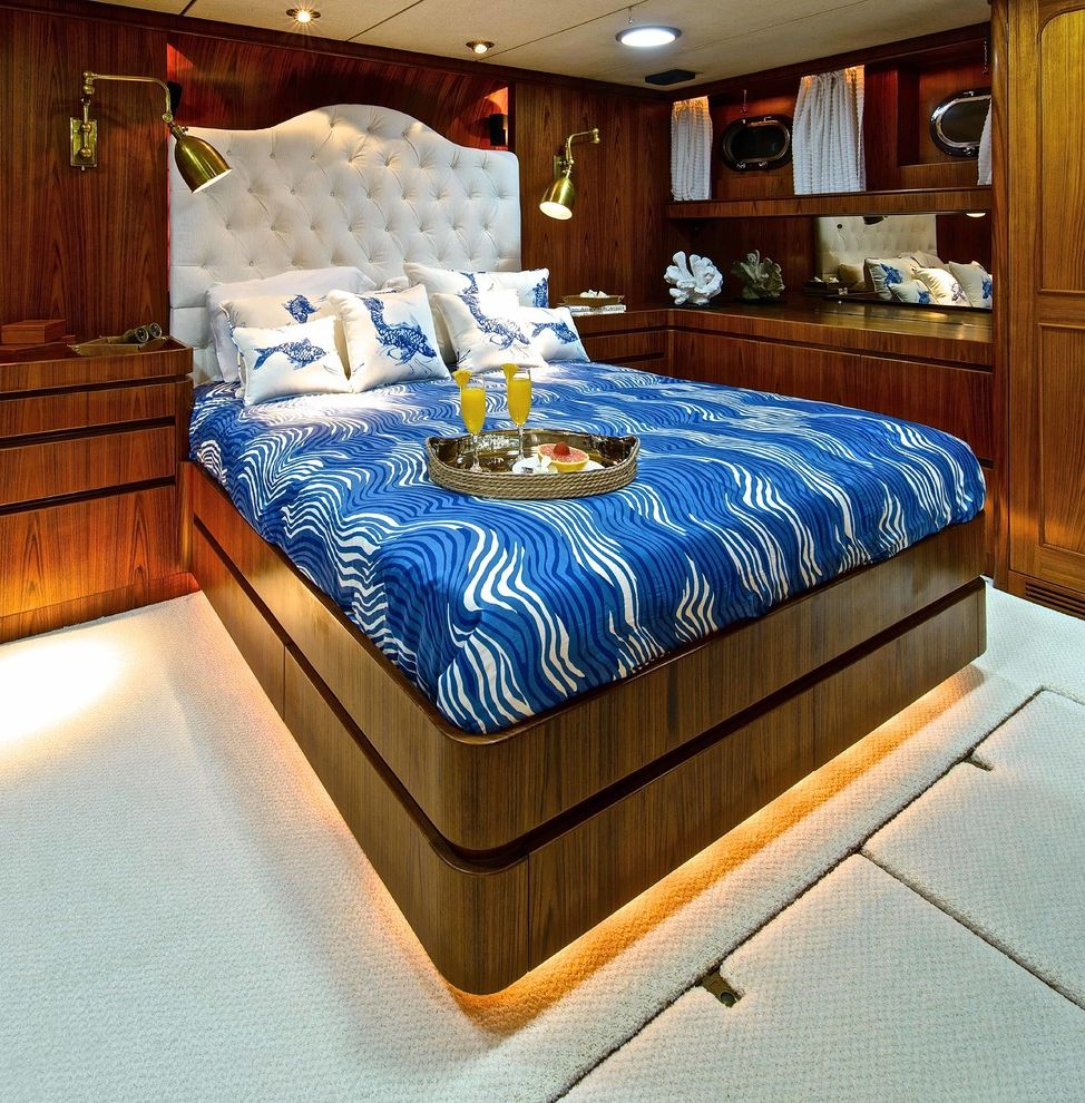 Yacht Bedding with Transitional Bedroom  and Bright Blue Royal Blue Toe Kick Lighting Upholstered Headboard White Headboard