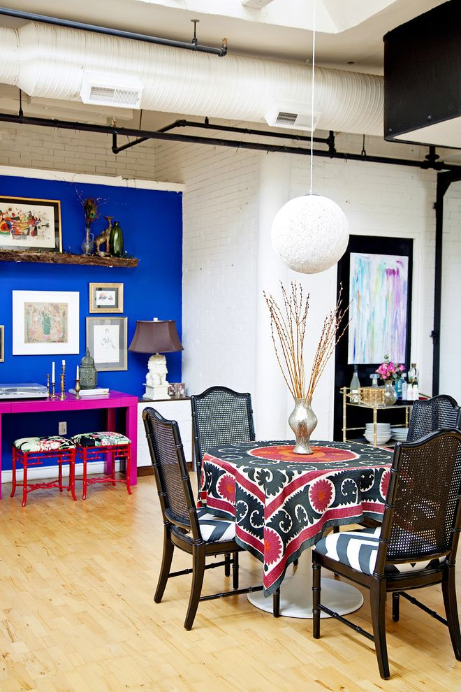 Accent Chairs on Sale   Eclectic Dining Room  and Accent Wall Black Chair Blue Paint Blue Wall Brick Wall Ceiling Light Color Dining Table Industrial Ceiling Pink Pink Desk Red Red Stool Stool White Brick Wall Wood Floor