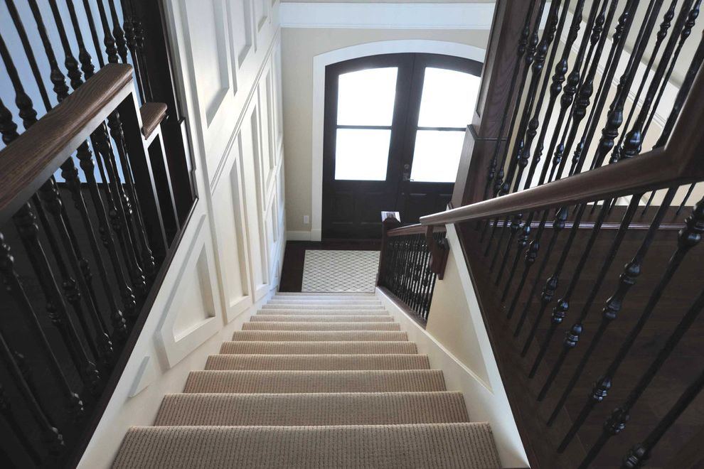 American Carpet Wholesalers   Transitional Entry  and Banister Black and White Carpet Carpet on Stairs Carpet Stairs Dark Spindle Detail Millwork Railings Recessed Stair Stairs Stairway White Trim White Walls Wood Handrail