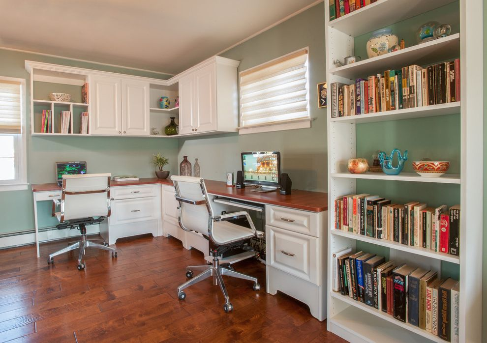 Amli South Shore with Traditional Home Office Also Accessories Bookcases Double Desk Double Workspace Green Wall Home Office Office Chairs Two Desks White Bookcase White Cabinets White Desk White Drawers White Shelves Wood Counter Wood Floor