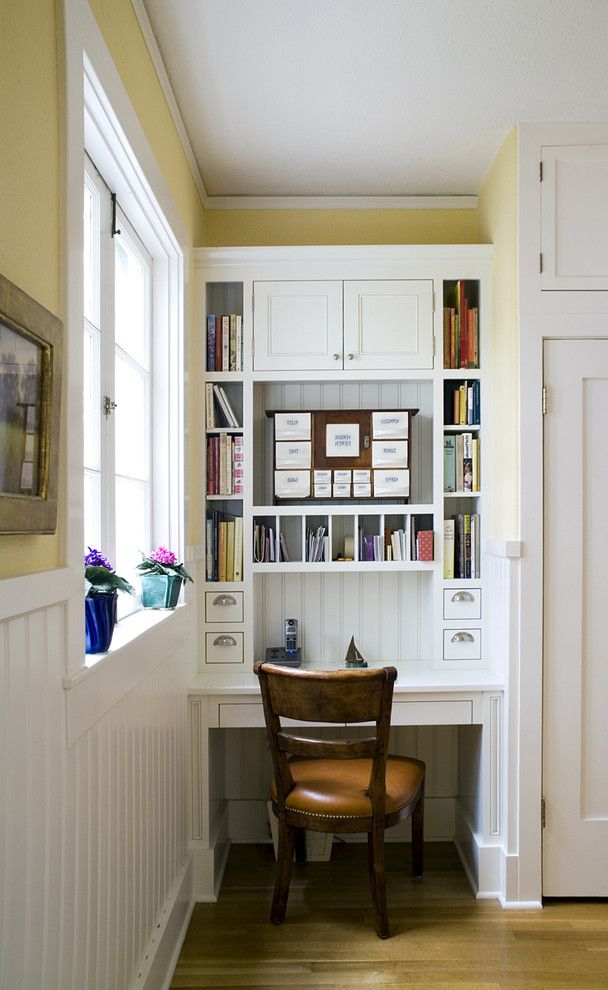 Aol Mail Help with Traditional Kitchen  and Alcove Beadboard Wainscoting Built in Desk Casement Windows Cubbies Kitchen Desk Message Center Nailhead Trim Nook Organization Storage Vintage Style White Cabinets White Wood Wood Flooring Wood Trim