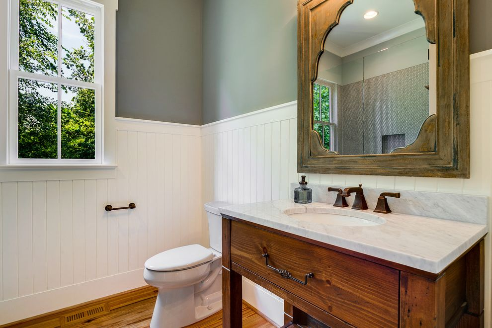 Ashley Furniture Charlotte Nc   Farmhouse Bathroom Also Antique Floor Bathroom Mirror Beadboard Cottage Farmhouse Gray Walls New Build Oil Rubbed Bronze Reclaimed Wood Wainscoting