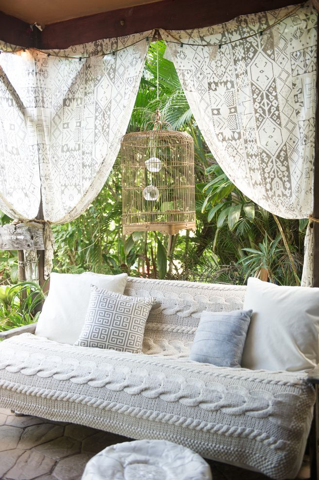 Ashley Furniture Futons with Beach Style Patio  and Birdcage Covered Patio Hawaiian Knitted Throw Layers of Texture Mixed Patterns Muted Color Scheme My Houzz Patterned Curtains Paved Patio Scroll Pattern Tone on Tone Tropical Landscape