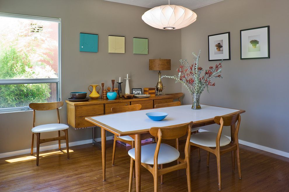 Ashley Furniture Reno with Modern Dining Room  and Architect Bamboo Floors Danish Credenza Danish Table Grey Walls Mid Century Modern Art Modern Dining Room Nelson Lamp Nelson Light Fixture Portland
