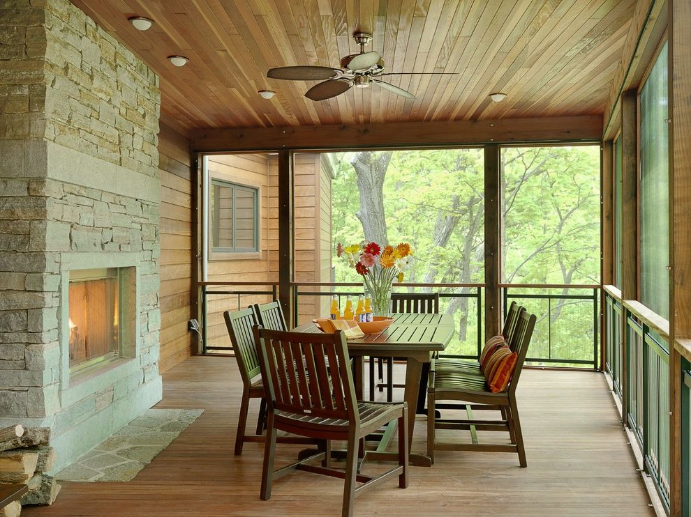 Ashley Furniture St Louis with Contemporary Porch Also Ceiling Fan Ceiling Lighting Deck Enclosed Porch Flat Hearth Floral Arrangement Outdoor Dining Screen Porch Stone Fireplace Surround Treehouse Wood Ceiling