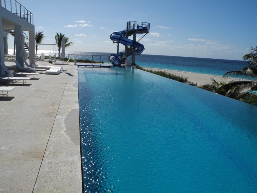 Bakers Bay Bahamas with Contemporary Pool Also Zero Edge Swimming Pool with Champagne Spa Custom Slide And
