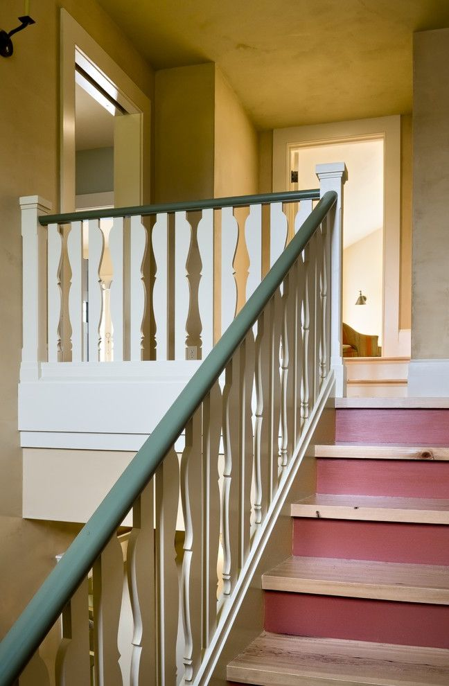 Baluster Spacing   Traditional Staircase Also Green Trim Red Accent White Trim Wood Cutouts Wood Railing Wood Staircase