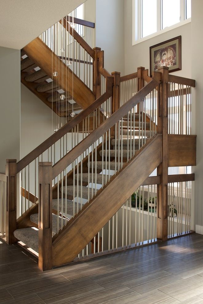 Baluster Spacing with Contemporary Staircase Also Carpet Treads Custom Stairs Custom Made Interior Stairs Landing Maple Metal and Wood Banister Open Rise Pendant Lighting Solid Wood Windows