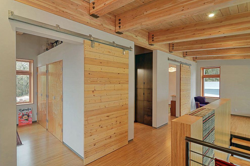 Barndoor Hardware with Contemporary Hall Also Barn Doors Closets Glulam Knotty Pine Open Tread Staircase Stainless Steel Hardware Tongue and Groove Woodwork Wood Beams Wood Ceiling Wood Trim