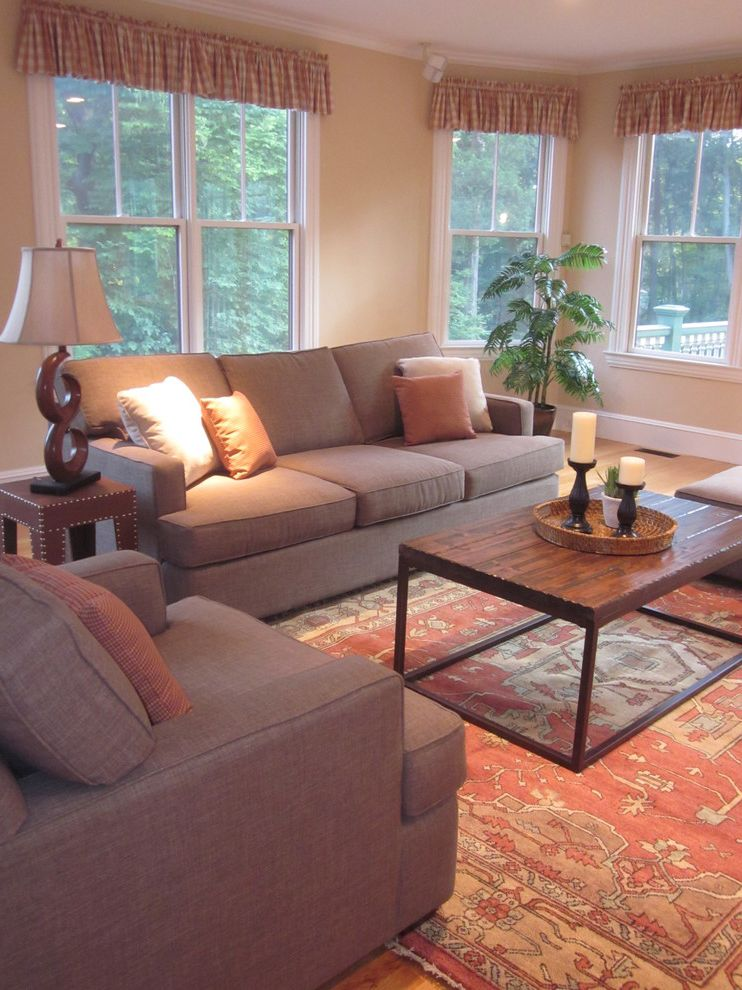 Bernie and Phils with Traditional Living Room  and Sofa Love Seat and Ottoman Grouping Wood and Metal Coffee Table