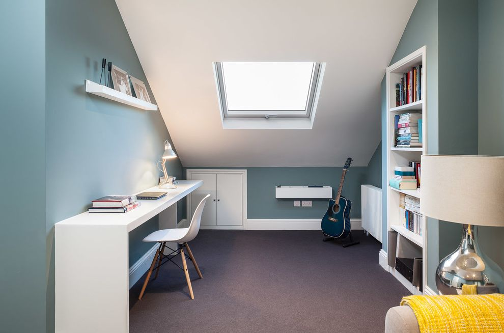 Blue Sky Pest Control with Contemporary Home Office  and Built in Bookshelf Skylight Slanted Ceiling White Chair White Desk Lamp White Wall Shelf