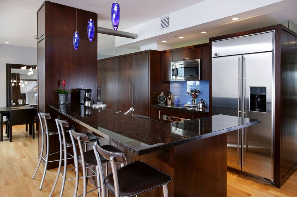Boston Granite Exchange   Contemporary Kitchen  and Blue Backsplash Blue Pendant Lights Breakfast Bar Dark Wood Cabinets Hardwood Floors Leather Barstools Modern Barstools Modern Kitchen Open Floor Plan Recessed Lighting Stainless Steel Applicances