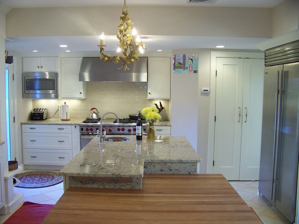 Boston Granite Exchange   Traditional Kitchen Also Quartz Countertop White Cabinets White Kitchen Wood Countertop