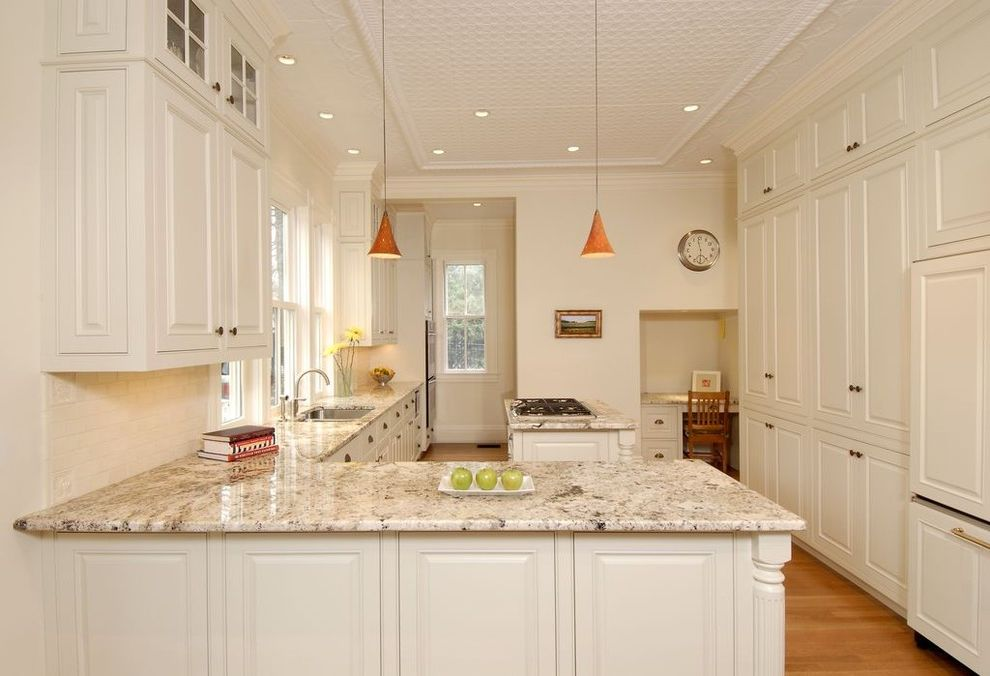 Boston Granite Exchange   Traditional Kitchen  and Desk French Window L Shaped Kitchen Island Orange Pendant Light Pendant Light White Cabinet Work Area