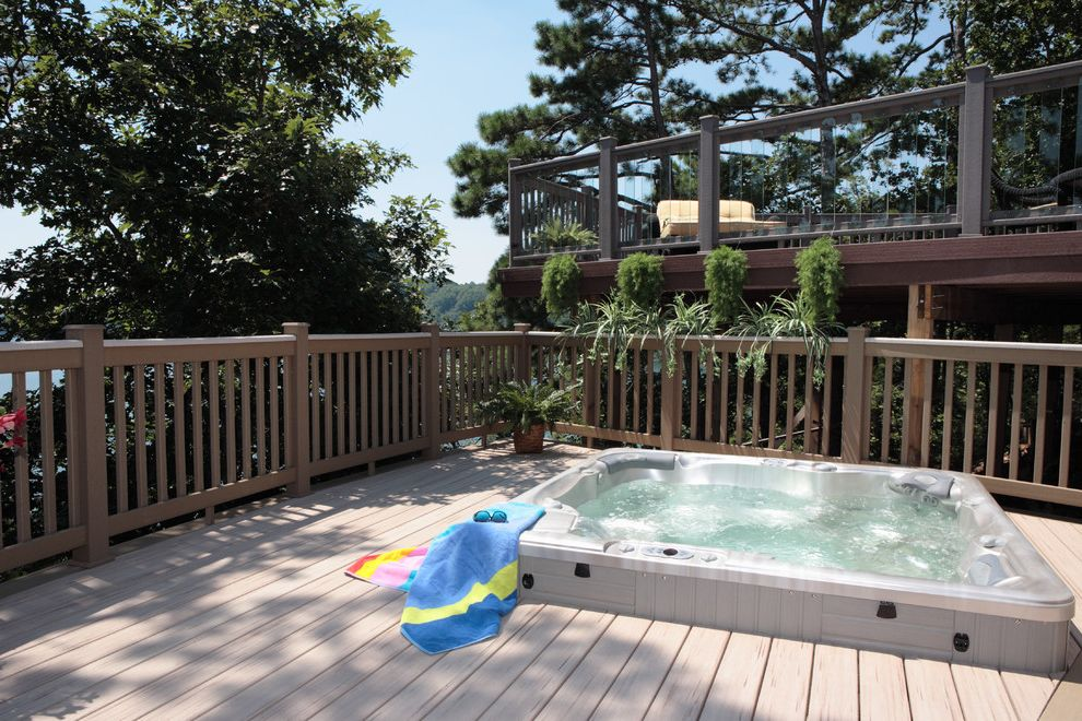 Brookside Lumber   Traditional Deck Also Glass Balusters Hot Tub Multi Level Seating Area