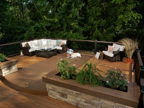 Brookside Lumber   Traditional Deck  and Curved Deck Lighting Multi Color Stone