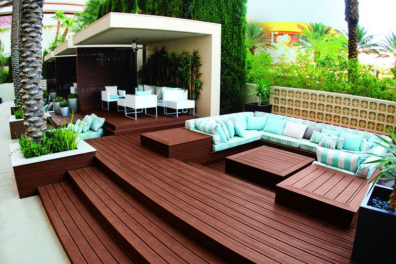 Brookside Lumber with Contemporary Deck  and Multi Level Planters Resort Sunken Seating