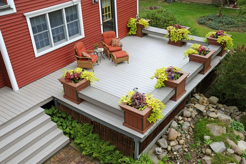 Brookside Lumber with Traditional Deck Also Benches Contrast Gray Decking Grey Decking Planters