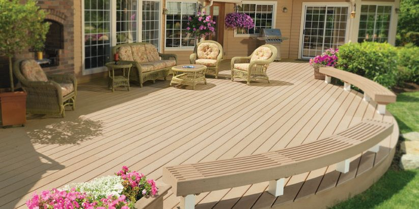 Brookside Lumber with Traditional Deck  and Benches Curved Decking
