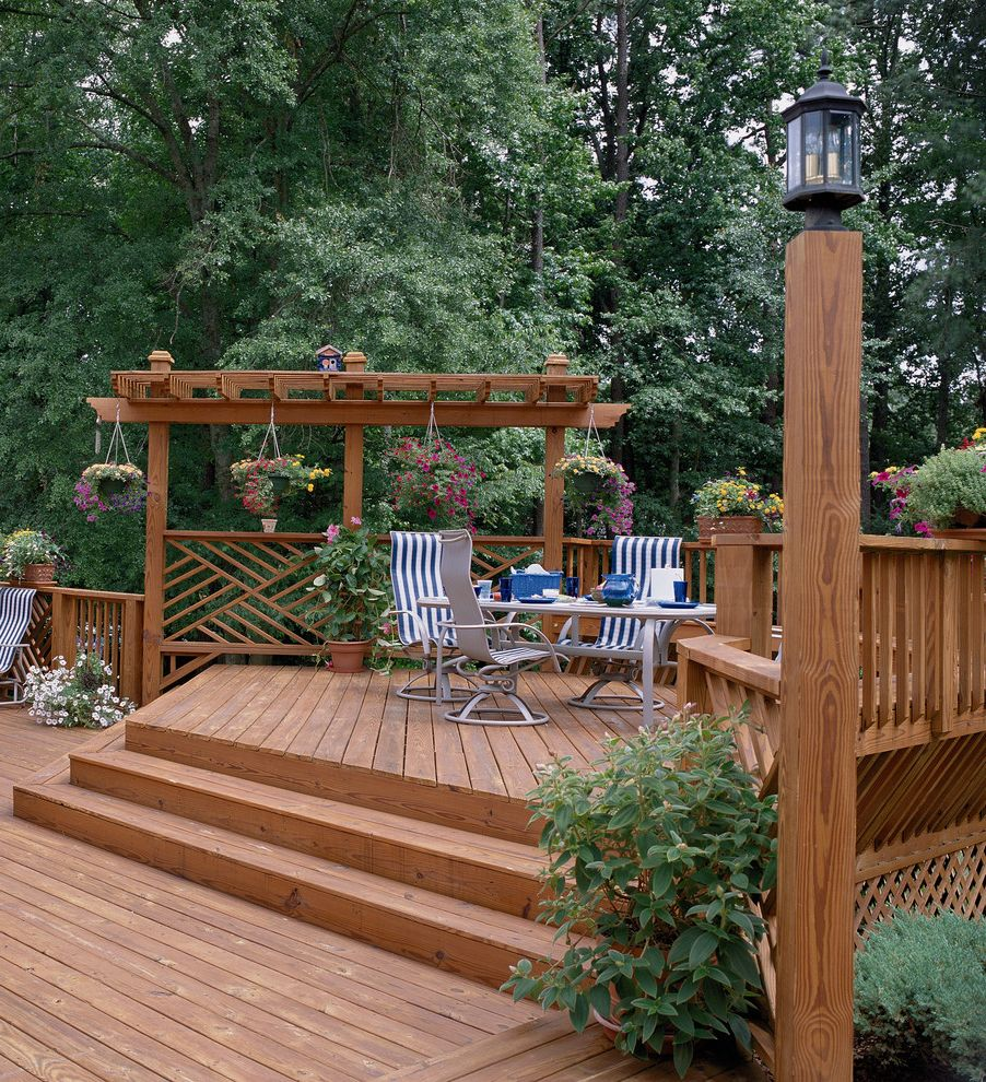 Brookside Lumber with Traditional Deck  and Lattice Multi Level Pergola Seating Area Steps