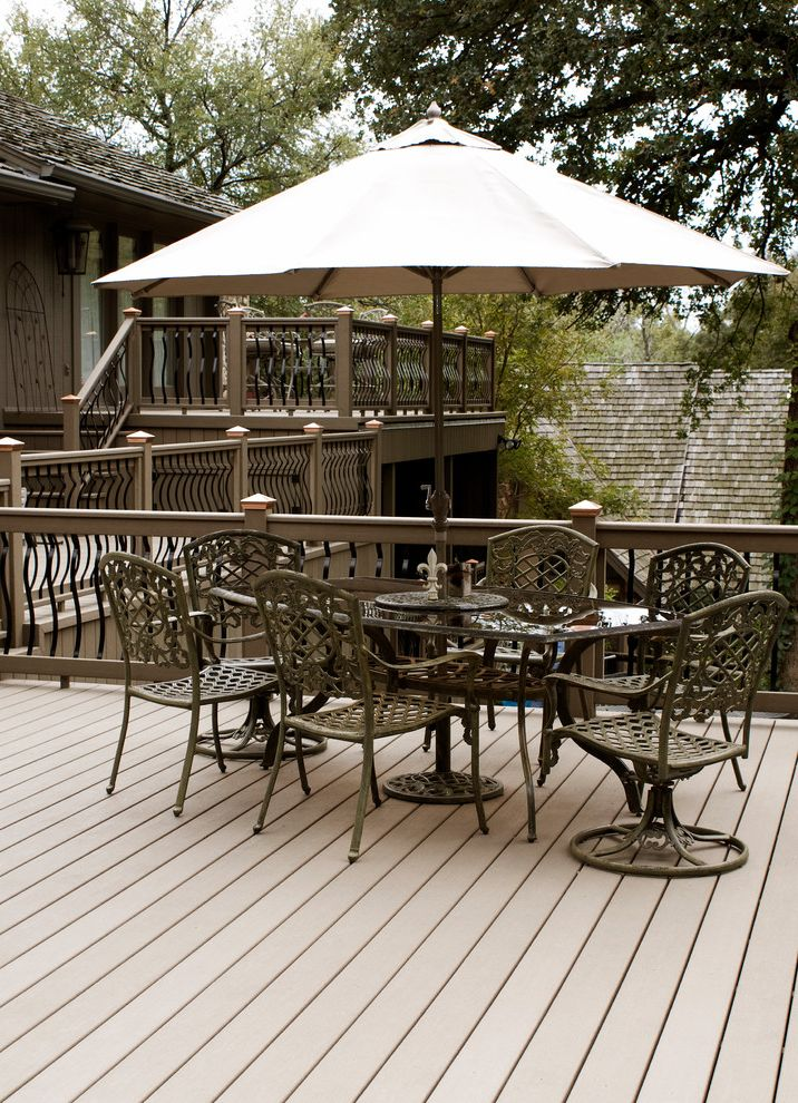 Brookside Lumber with Traditional Deck  and Metal Balusters Multi Level Seating Area Stairs