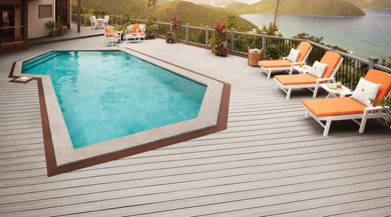 Brookside Lumber with Tropical Pool  and Gray Decking Grey Decking Pool Deck