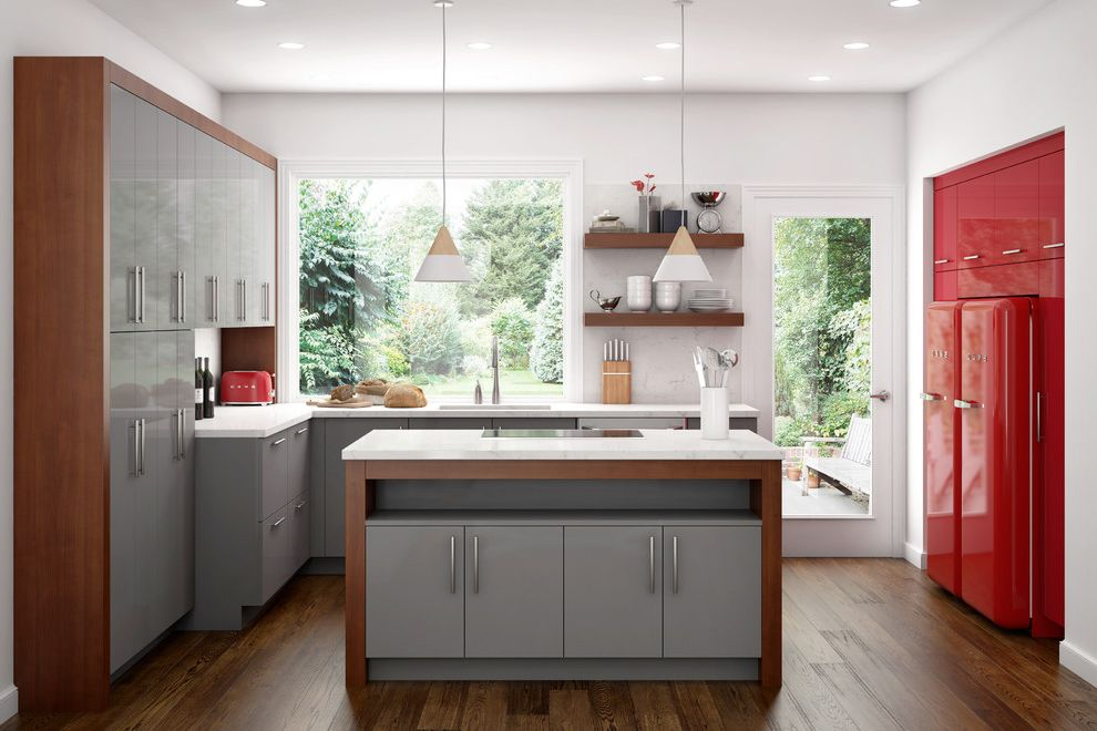 Canyon Creek Cabinets   Contemporary Kitchen  and Budget Cabinets Canyon Creek Cabinet Company Canyon Creek Cabinetry Canyon Creek Cabinets Frameless Cabinets High Gloss Red Accents