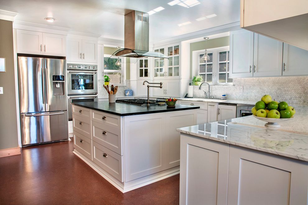 Canyon Creek Cabinets   Traditional Kitchen Also Black Countertop Ceiling Light Cup Pulls Island Storage Neutral Colors Pendant Lighting Polished Floor Pot Filler Vent White Island Window