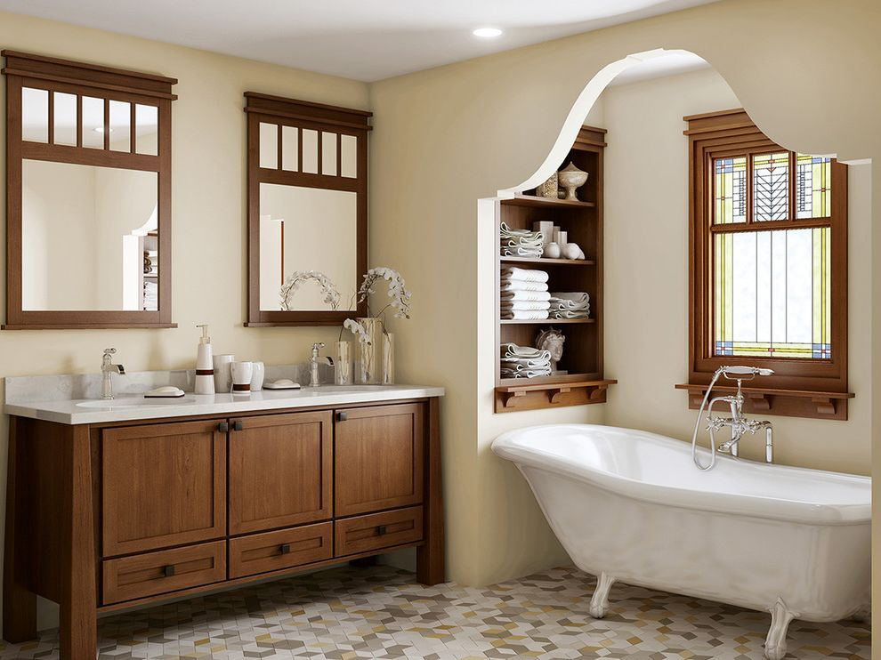 Canyon Creek Cabinets with Craftsman Bathroom  and Built in Shelves Canyon Creek Canyon Creek Cabinet Company Cornerstone Framed Cabinetry Mosaic Tile Floor Nook Stained Glass Window Wall Mirrors